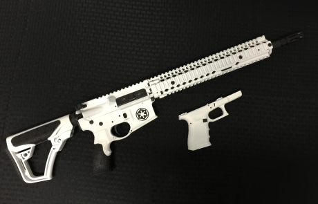 Star Wars Storm Trooper themed AR-15 on a Daniel Defense and Glock.